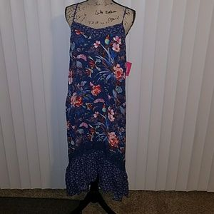 Xhilaration Blue Floral High Low Dress